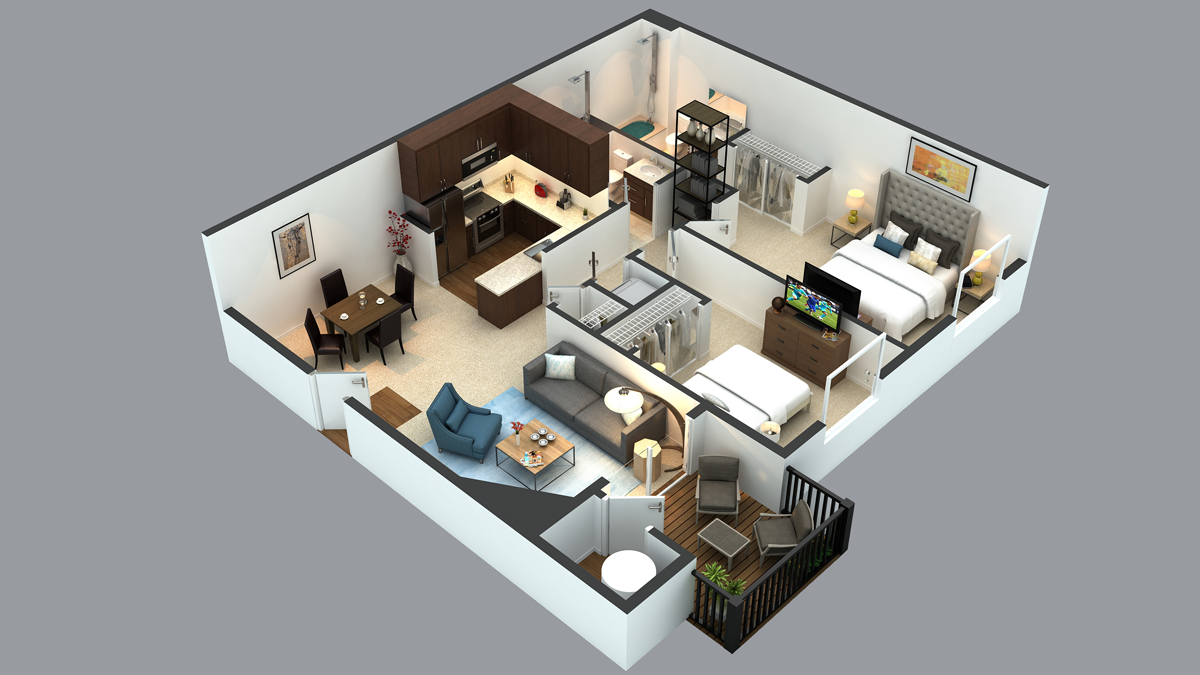 3d floor plans cartoblue for Studio apartment design 3d