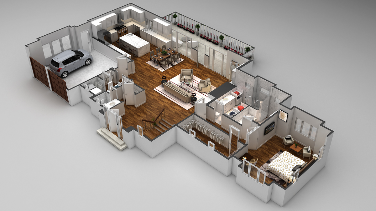 3d floor plans cartoblue for One floor house design plans 3d