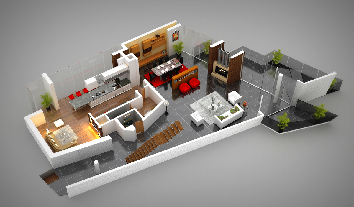 3d floor plans cartoblue for Plan 3d