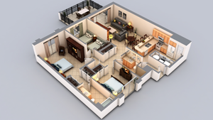 3d floor plans cartoblue for Turn floor plan into 3d model