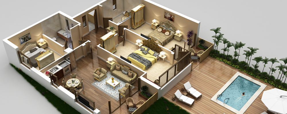 3d vacation rentals property floor plans for Rental property floor plans